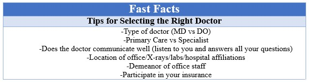 Fast Facts Finding the Right Doctor